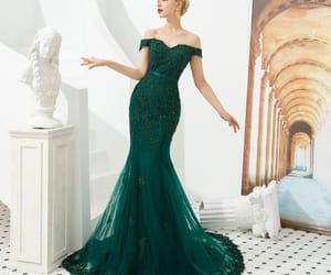 beading, dark green dress, and girl image