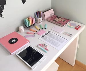 school, desk, and study image