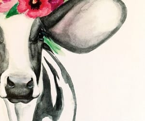 cow, flowers, and girly image