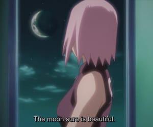 anime, moon, and sakura image