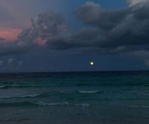 sky, moon, and ocean image