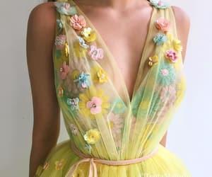 yellow, dress, and long image