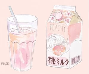 peach, art, and drink image