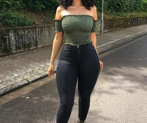 curly hair, hourglass figure, and green army image