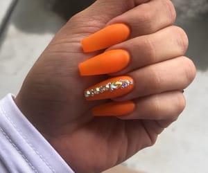 nails, orange, and nailart image