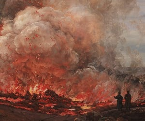 art, fire, and volcano image