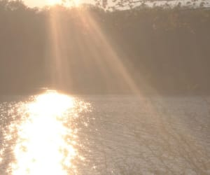 water, sun, and sunset image