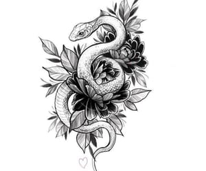 snake, tattoo, and drawing image