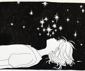 black and white, stars, and star gazing image