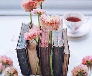 book, flowers, and lifestyle image