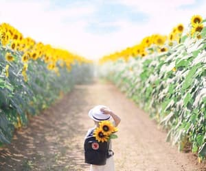 beauty, kids, and yellow flowers image