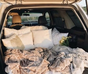 blanket, car, and pillow image