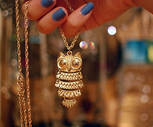 owl, necklace, and nails image