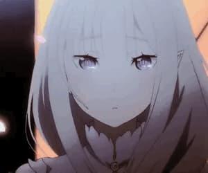anime girl, flower, and gif image