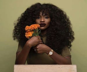 flowers, melanin, and curly image