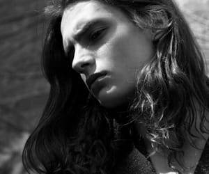black and white, long hair, and model image