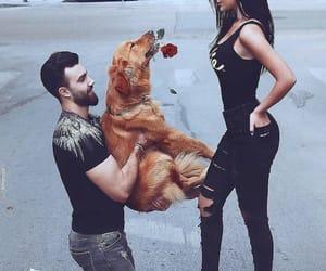 couple, dog, and rose image