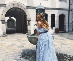 blonde, blue dress, and cinderella image