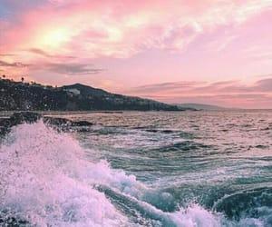 sea, sky, and sunset image