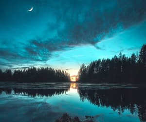 clouds, forest, and moon image