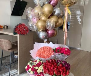balloons, birthday, and flowers image