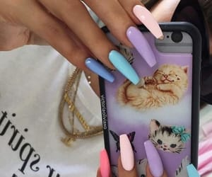blue, nails, and rainbow image