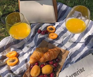 croissant, apricot, and orange juice image