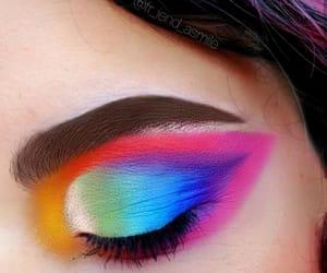 colorful makeup, rainbow, and eyebrows image