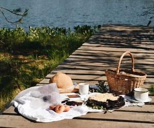 basket, lake, and picnic image