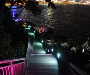 city, lights, and stairs image