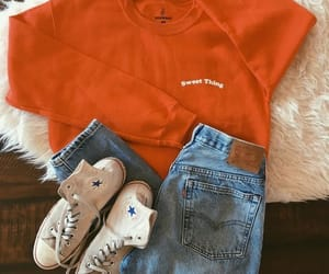 converse, orange, and outfit image