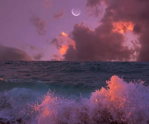 moon, ocean, and purple image