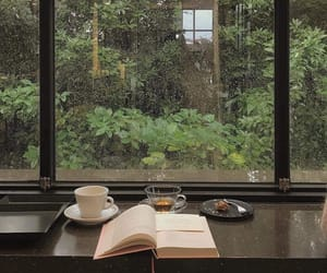 book, rain, and tea image