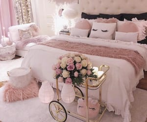 pink, bed, and home image