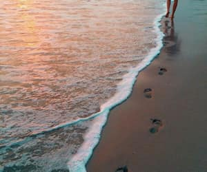 beach, beautiful, and footsteps image