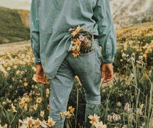 flowers, boy, and nature image