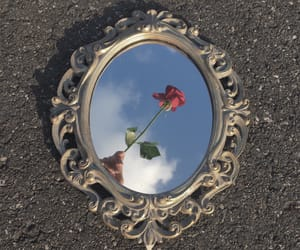 art, rose, and sky image