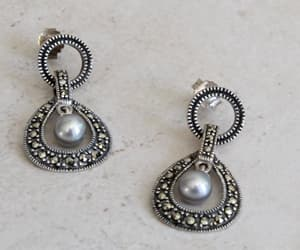 etsy, sterling silver, and pearl earrings image