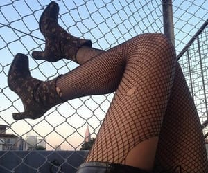 boots, fishnets, and goth image