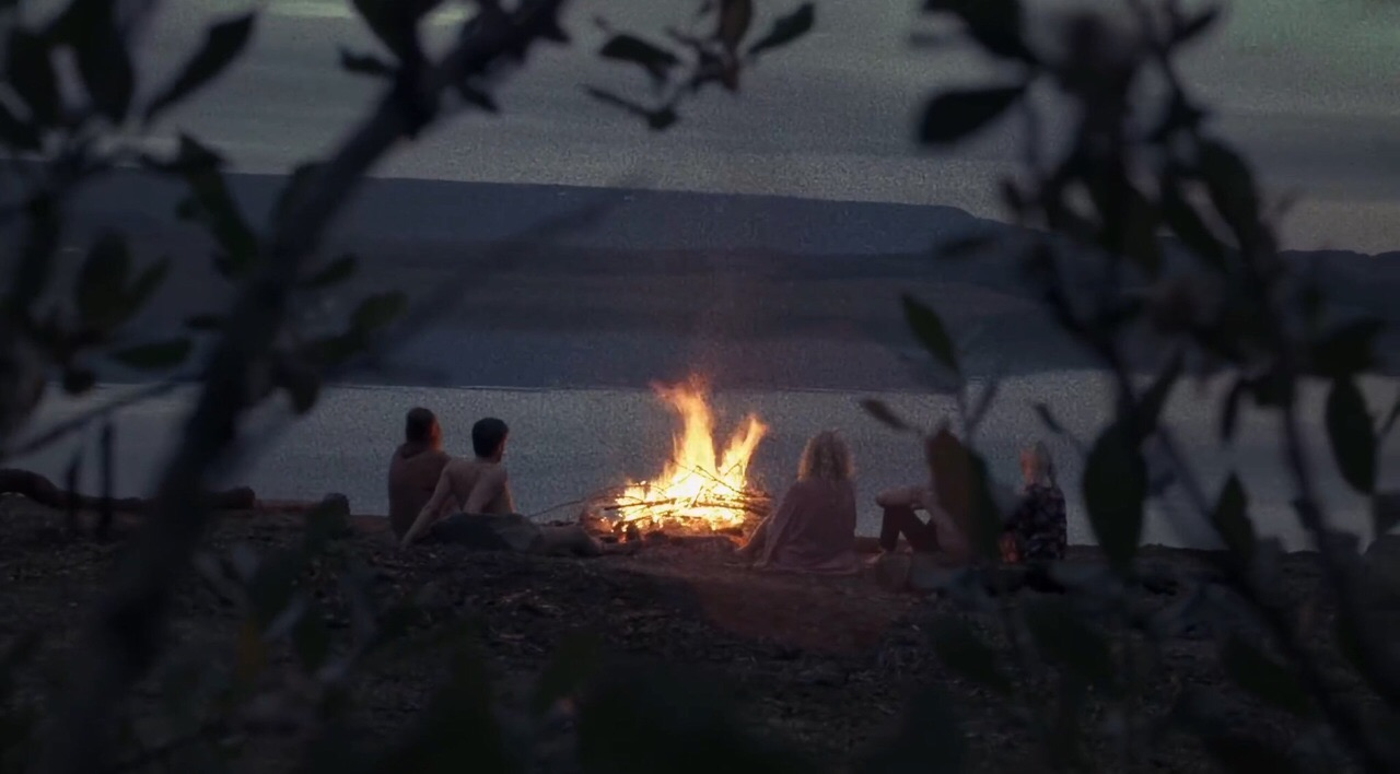 night, fire, and lake image