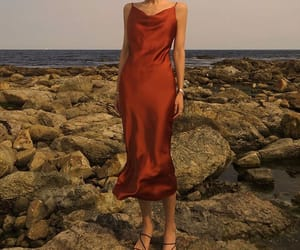 fashion, summer fashion, and red satin dress image
