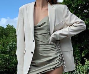 blazer, fashion, and satin dress image