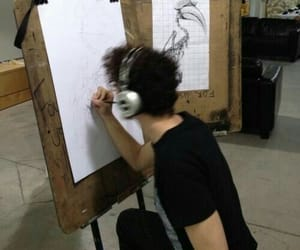 boy, drawing, and grunge image