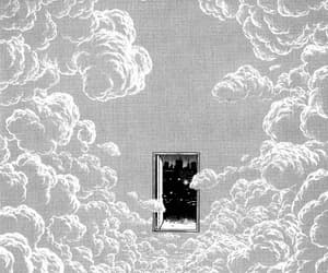 door, clouds, and art image