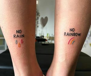 tattoo, rain, and rainbow image