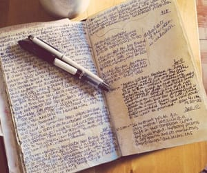 books, journal, and writing image