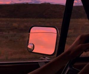 car, sky, and sunset image