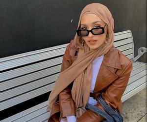 fashion, headscarf, and leather jacket image
