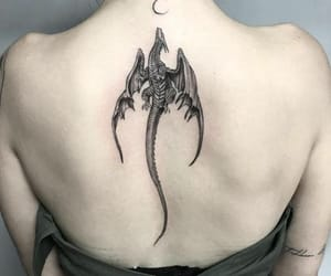 tattoo, dragon, and moon image