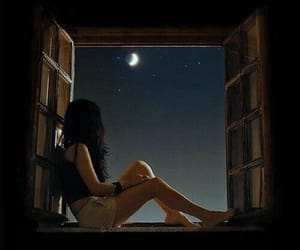 girl, window, and stars image